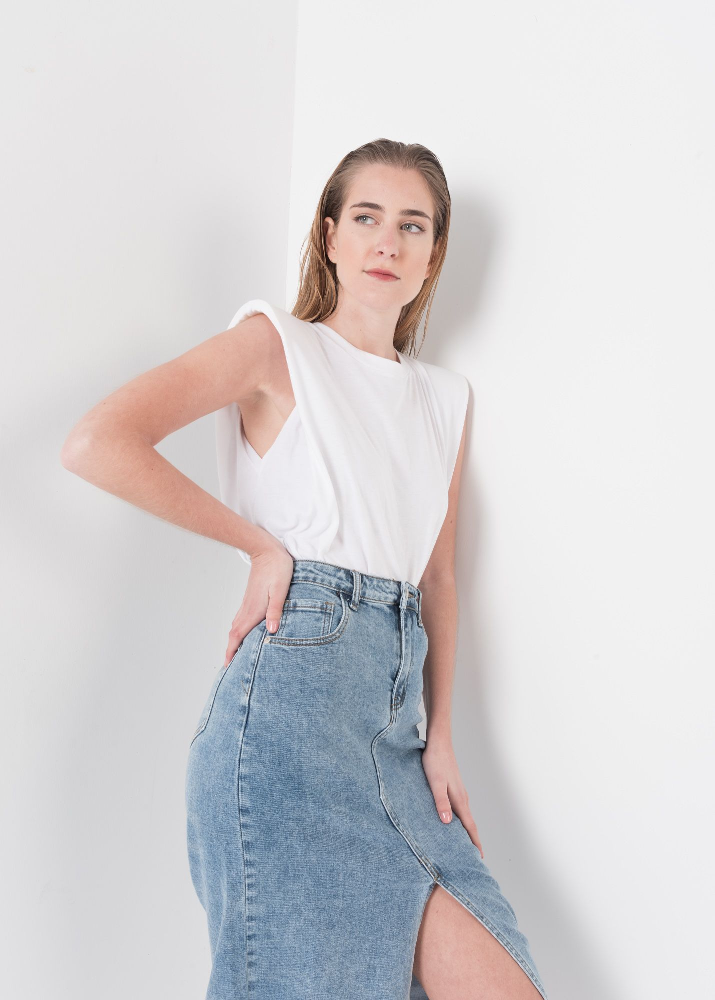 JUPE MIDI EN DENIM